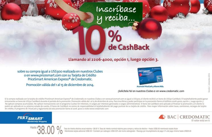Pricesmart promotion CASH BACK con tarjeta credomatic - 04dic14