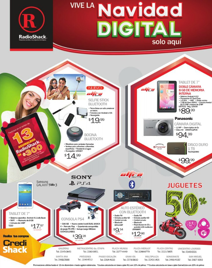 live CHRISTMAS digital promotions RADIOSHACK offers - 10dic14