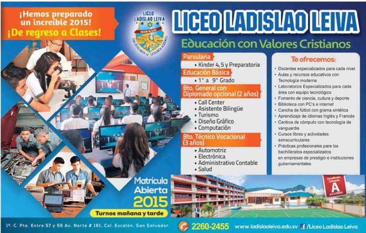matricula abierta 2015 liceo ladislao leiva