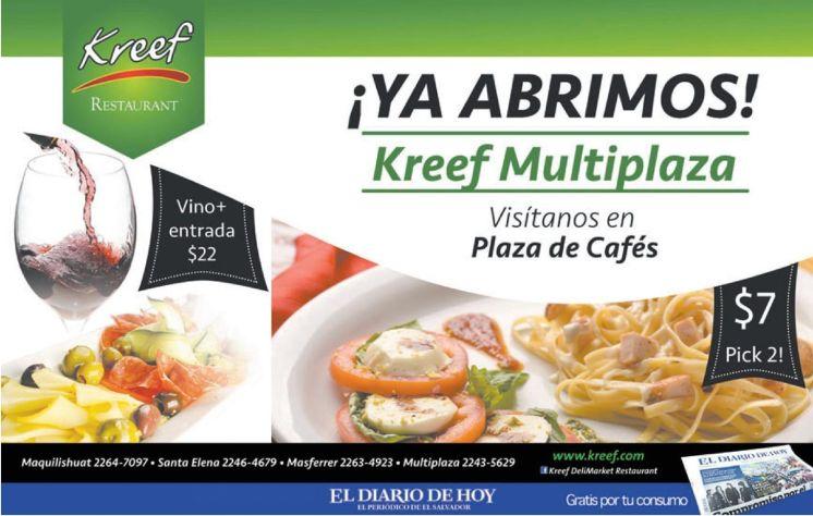 nuevo restaurante gourmet KREEF multiplaza
