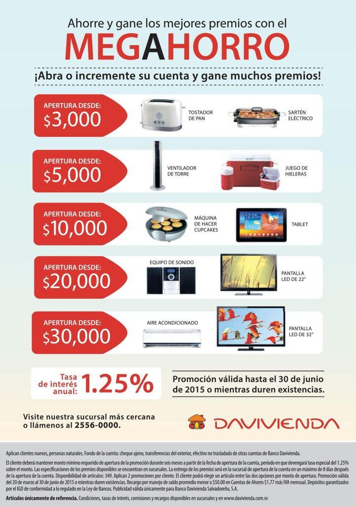 Davivienda te ofrece un MEGA AHORRO mira como ganar premios - 25mar15