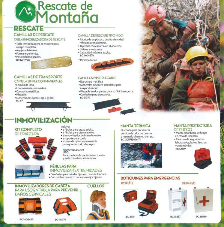 Equipo para rescate de montaña