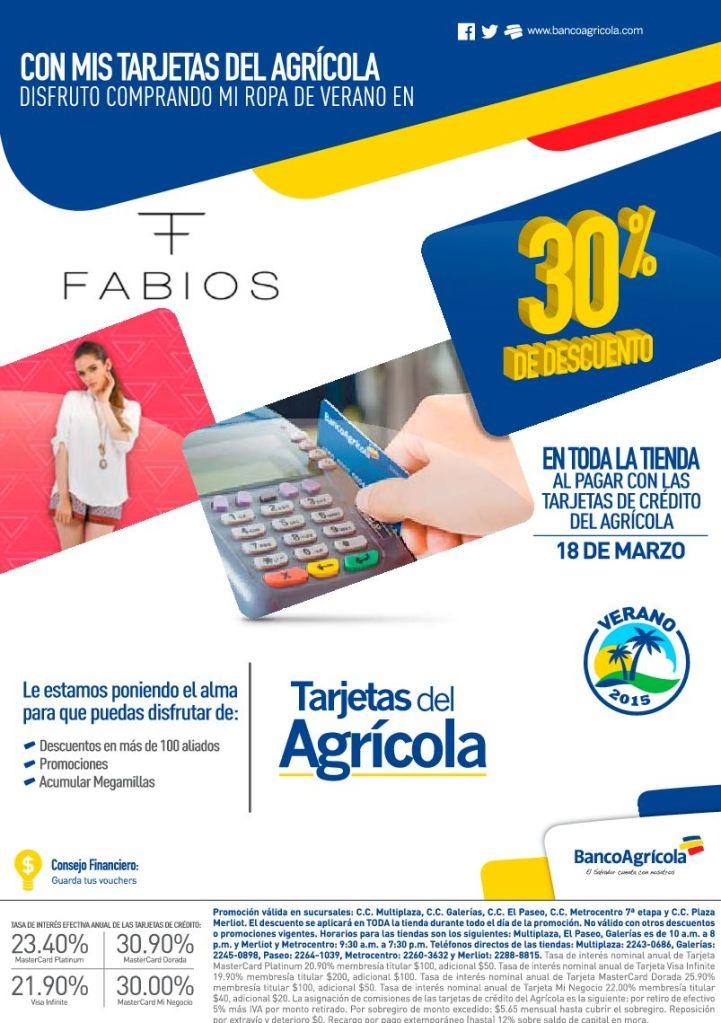 FABIOS boutique 30 por ciento de descuento con banco agricola - 18mar15
