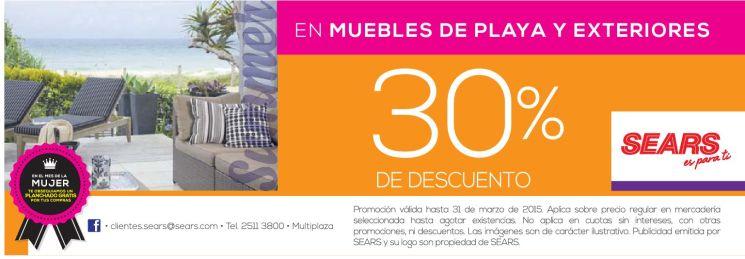 Muebles de playa y exteriores SEARS promociones - 26mar15