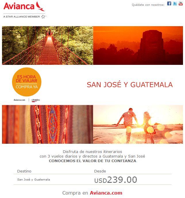 SAN JOSE costa rica y GUATEMALA ofertas avianca - 02mar15