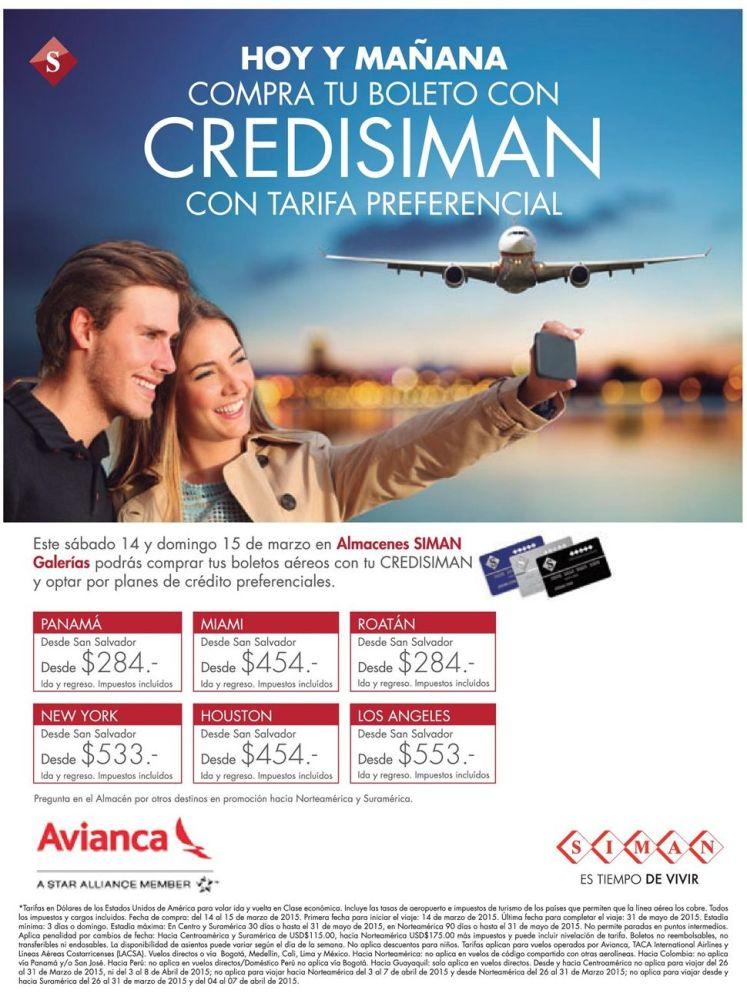 compra tu boleto AVIANCA con Tarifa preferencial gracias a CREDISIMAN - 13mar15