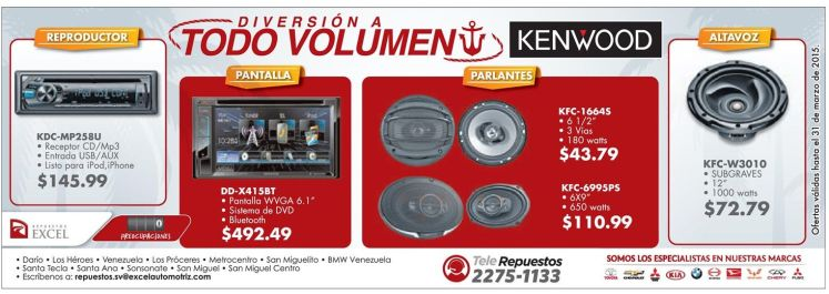 ofertas en sistemas de audio y DVD video para autos - 23mar15