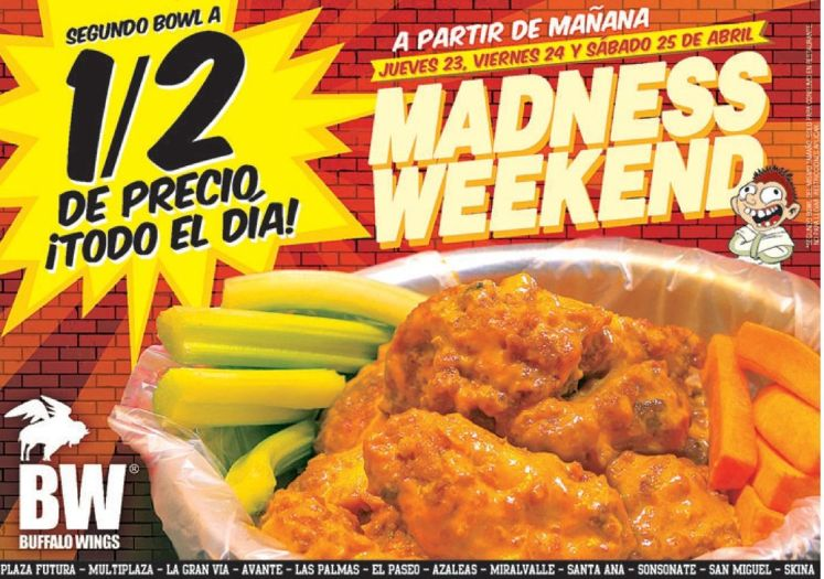 Bufallo Wings Todo dia tus alitas a MITAD DE PRECIOS - 22abr15
