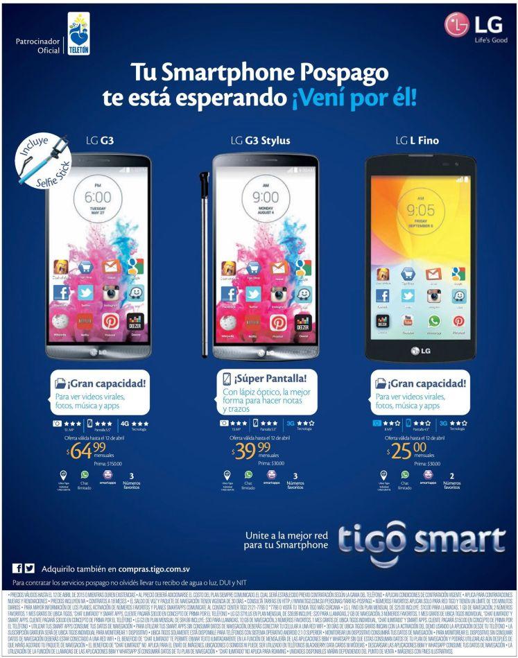 Ofertas para comprar nuevos LG G smartphones de TIGO - 08abr15