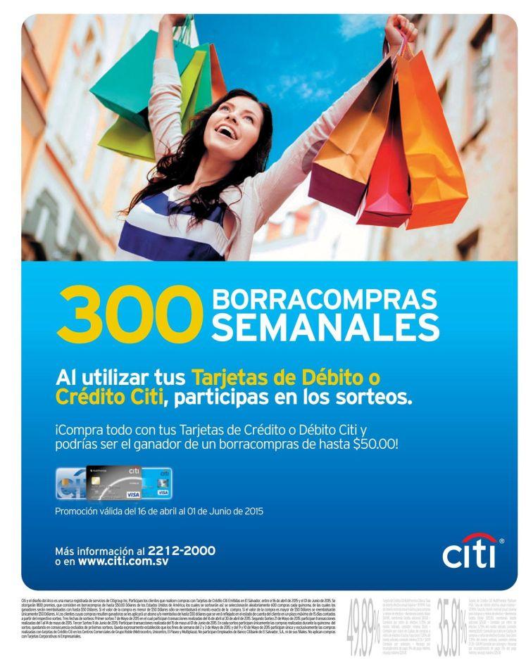 Particpa con tus compras CITI en los 300 borrasaldos semanales