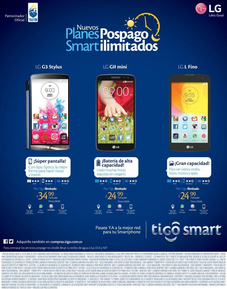 Planes SMART ilimitados de TIGO celulares LG - 25abr15