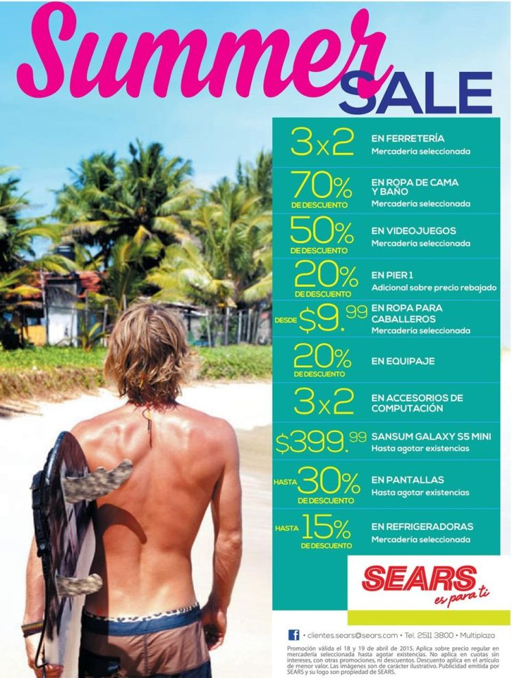 SUMMER SALE ultimo fin de semana SEARS - 18abr15