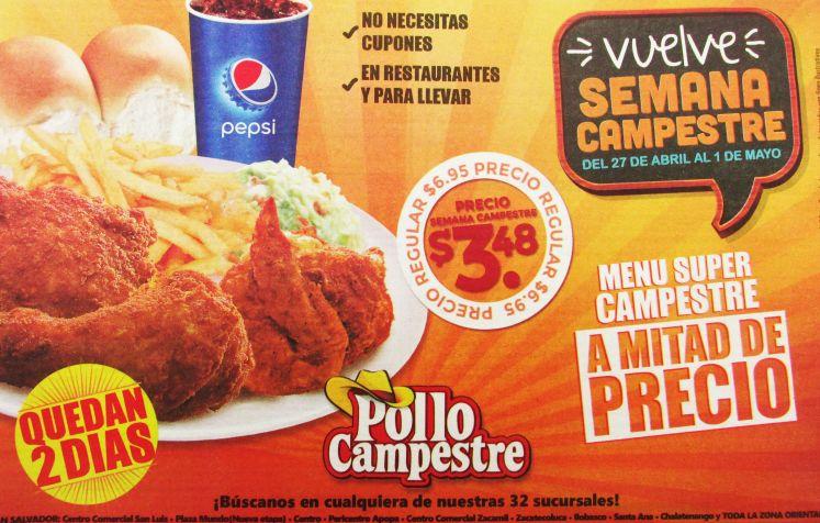 Semana para disfrutar pollo campestre PROMOCION menu gratis - 30abr15