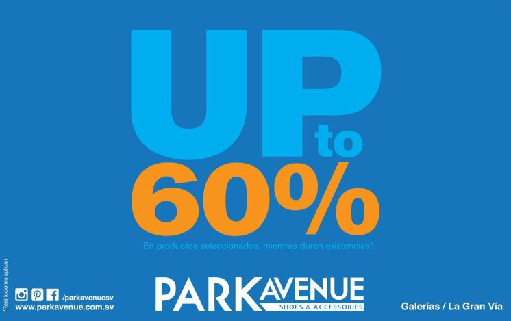 UP to 60 percent discount PARK AVENUE store - 16abr17