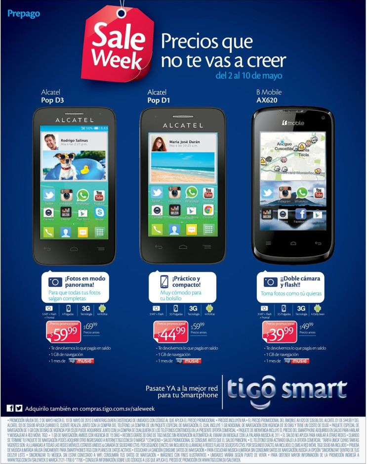 Ultimos dias SALE WEEK tigo elsalvador - 09may15