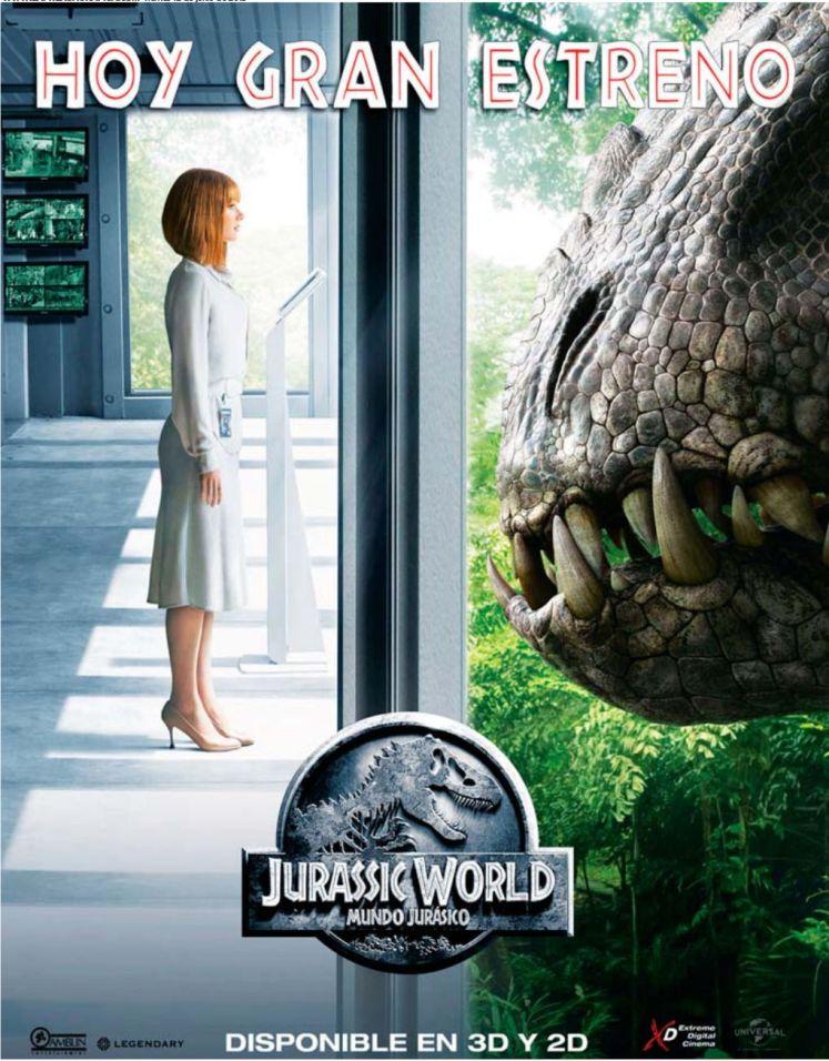 Movie theater premier JURASSIC WORLD the movie 2015