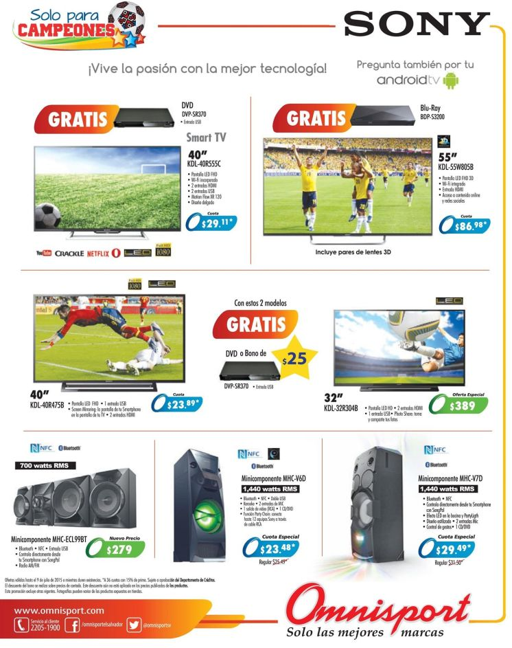 SONY android TV set buy at omnisport