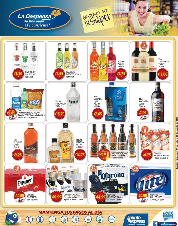 Vodka WiSKY Ron Vino Cervezas TODAS en promocion - 31jul15