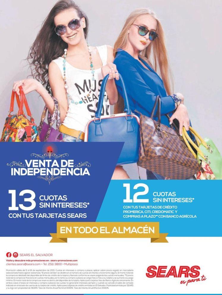 venta de independencia para DAMAS en sears sv
