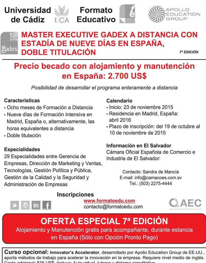 Master executive GADEX from spain