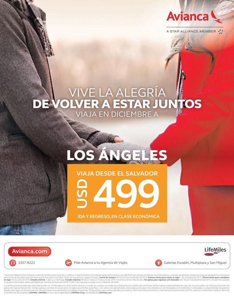Promocion en boleto aereo para los angeles via AVINANCA - 13nov15