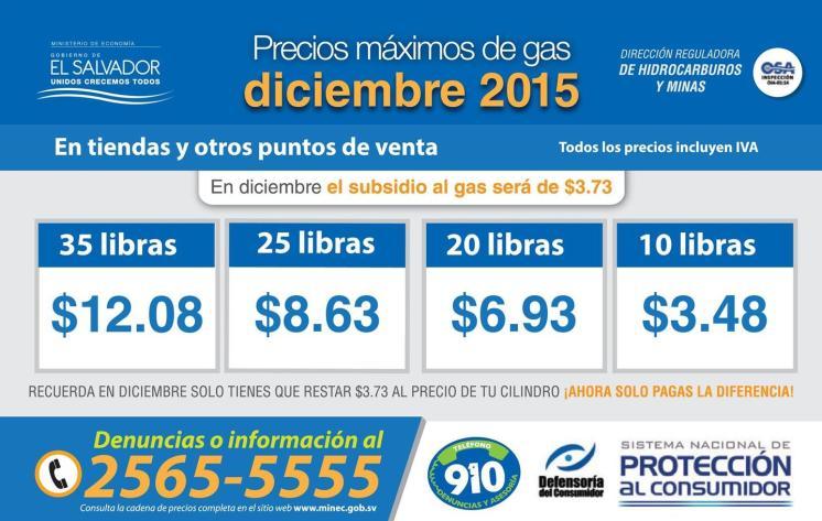 toma nota de los Precios maximos del gas DICIEMBRE 2015