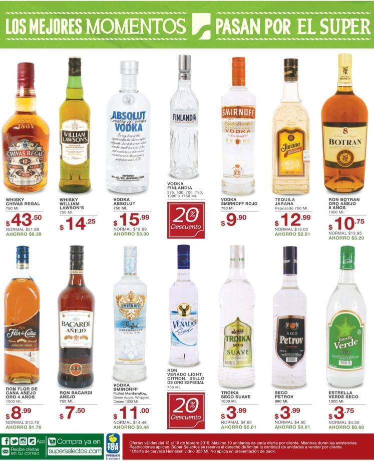Botellas de licores en ofertas super selectos - 13feb16