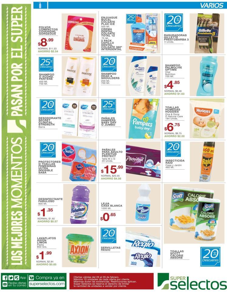 super selectos Descuento en toallas sanitarias - 26feb16
