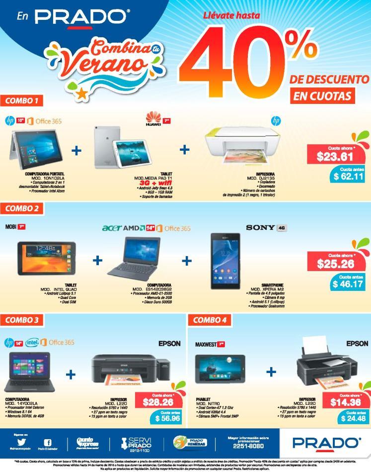 Combos en laptops tablet impresoras PRADO promociones