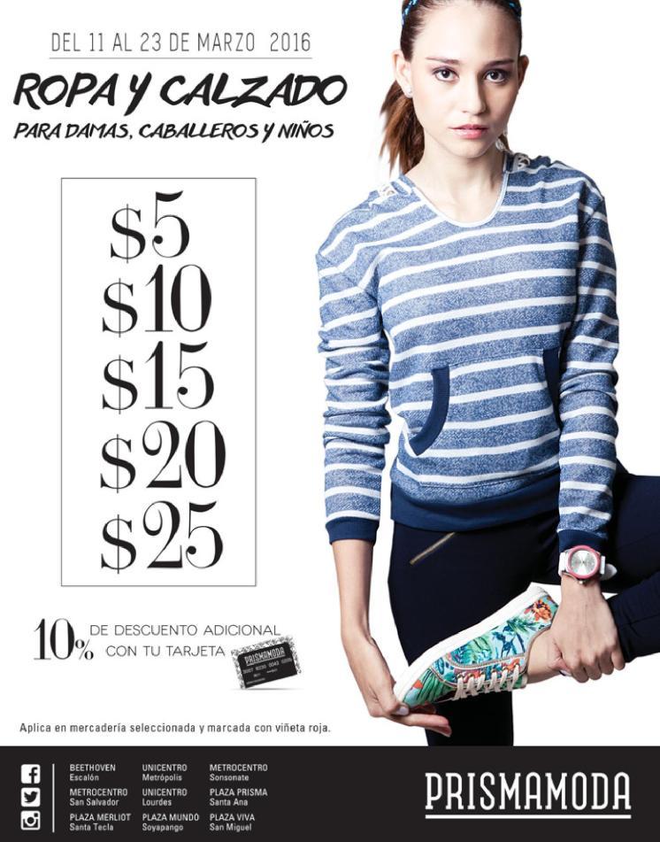 Semana de ofertas en ropa y calzado desde 5 dolares en prisma moda