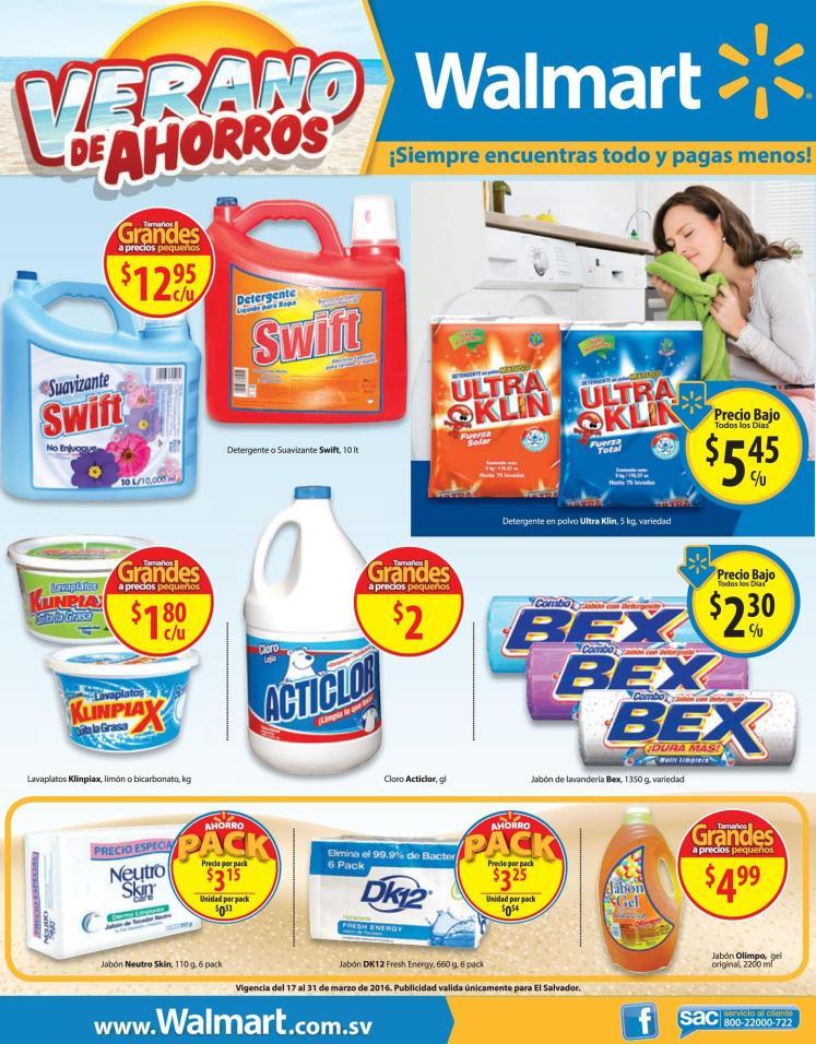 jabon detergente lejia cloro OFERTAS walmart en limpieza - 17mar16