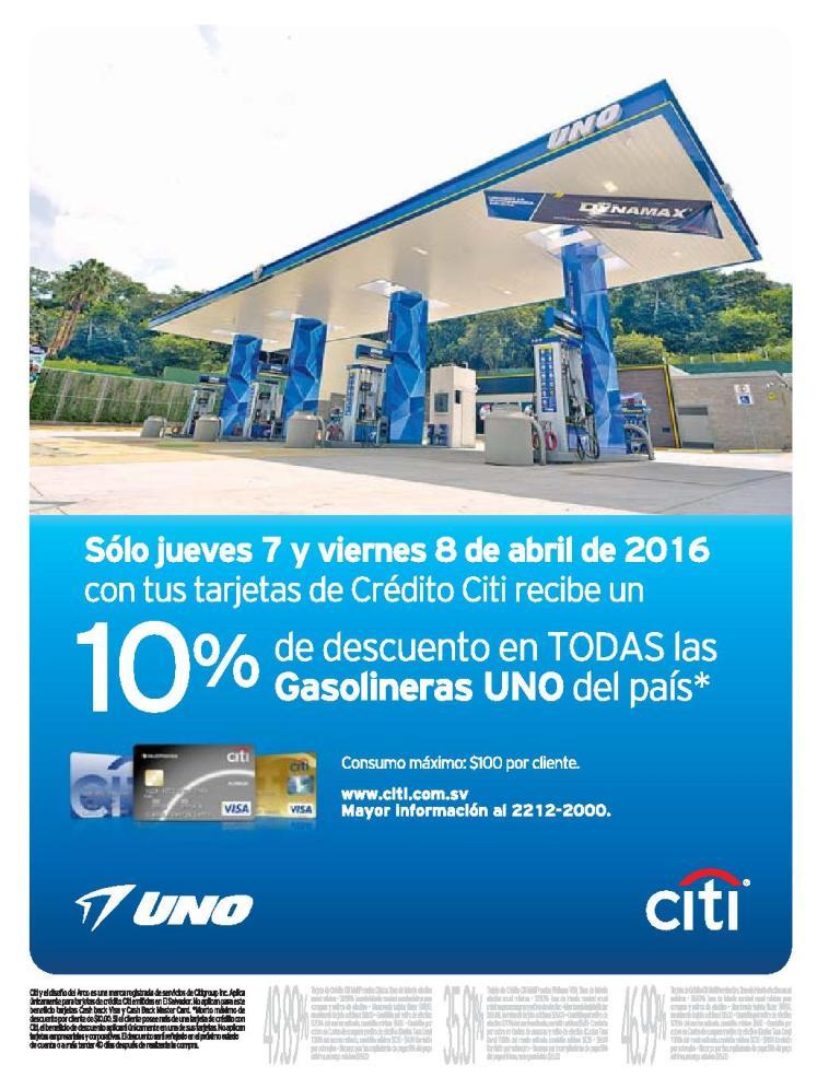 Gasolina uno 10 off gracias a tus tarjetas CITI bank