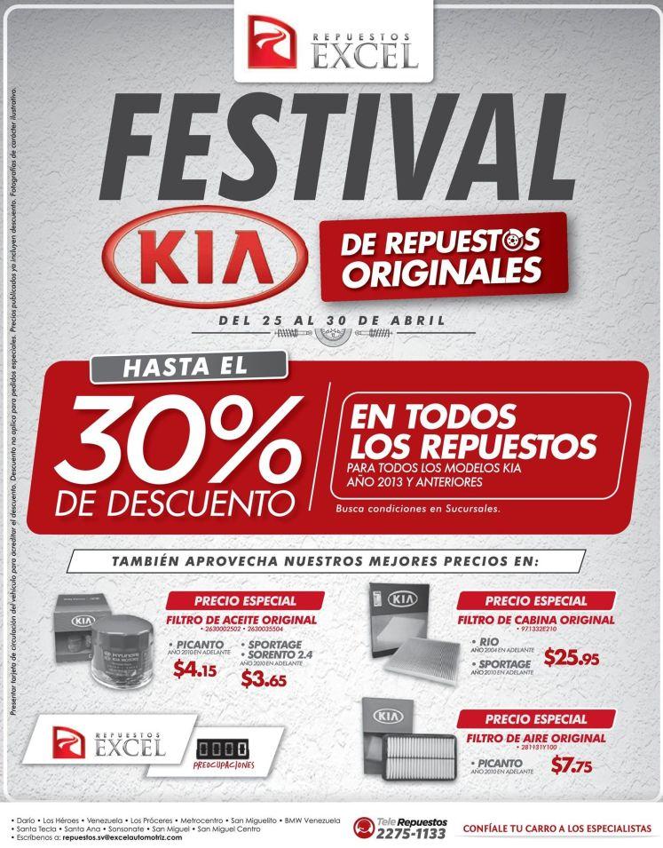 Repuestos EXCEL te ofrece todos las partes de tu auto KIA con descuentos y originales