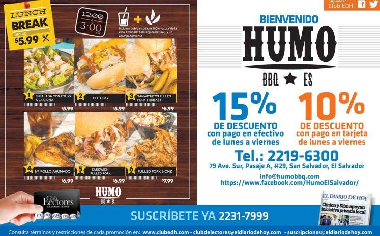 Resturante HUMO elsalvador promocion LUNCH break desde 5_99 de dolar