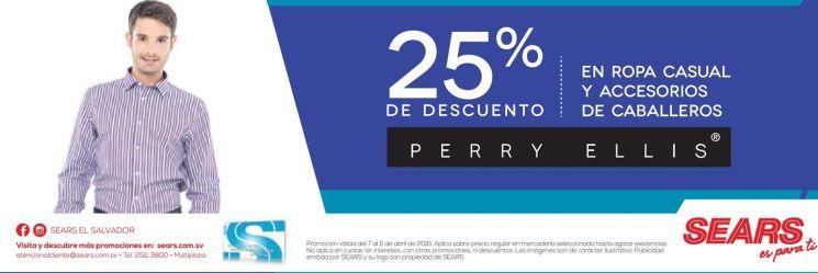 ropa de marca PERRY ELLIS descuento 25 off gracias a SEARS