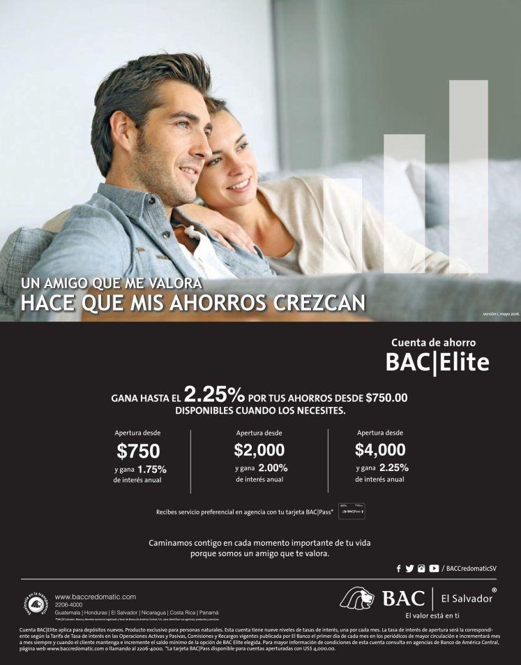 Beneficios con ahorros con tasas de intereses BAC Elite