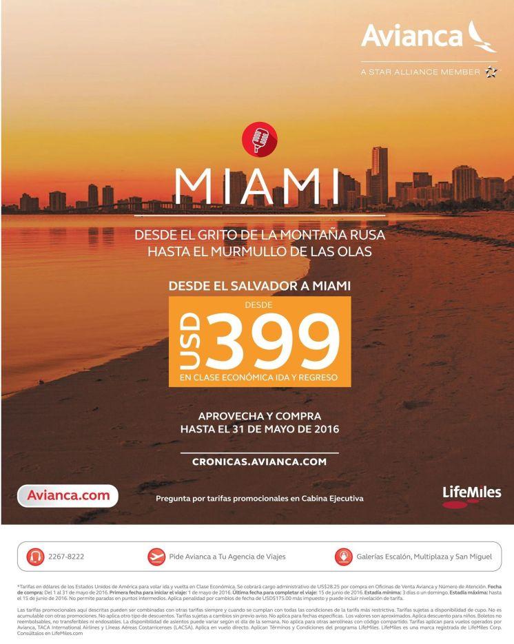 Promociones AVIANCA para viajar a MIAMI 399 dolares