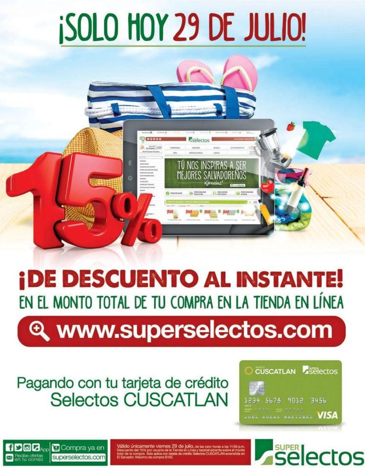 AL instante 15 OFF en super selectos online gracias a Banco Cuscatlan
