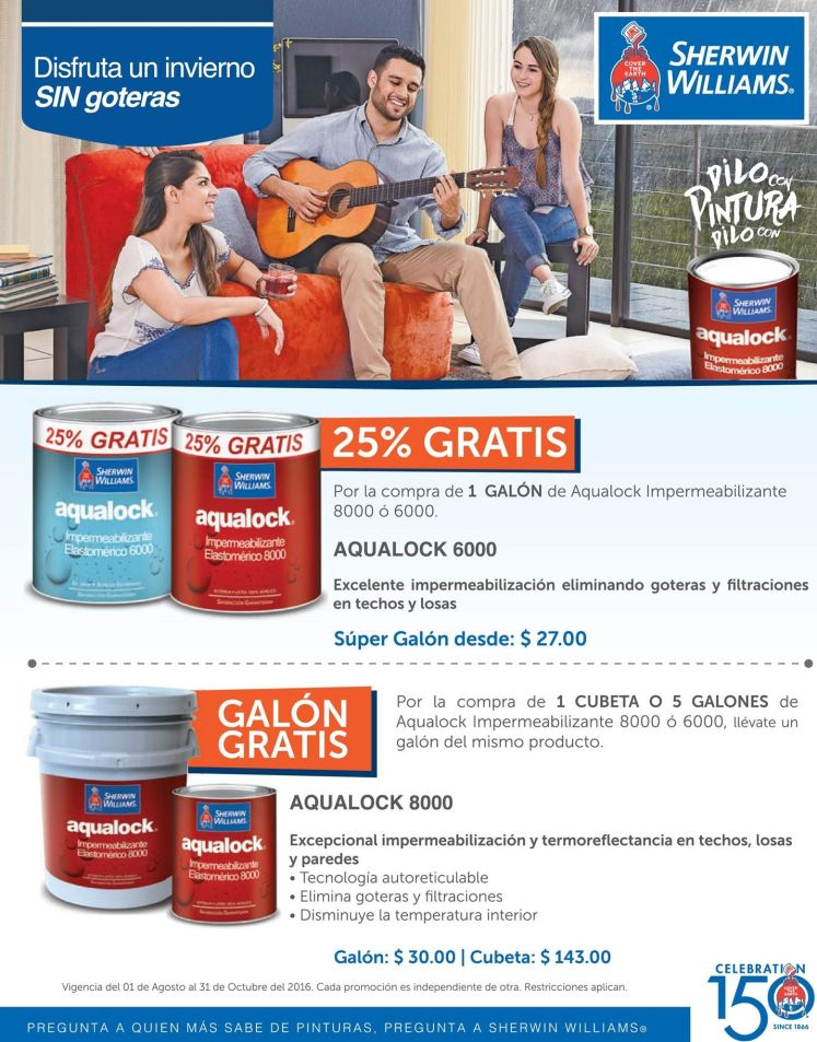 Descuento en selladores AQUALOCK sherwin williams