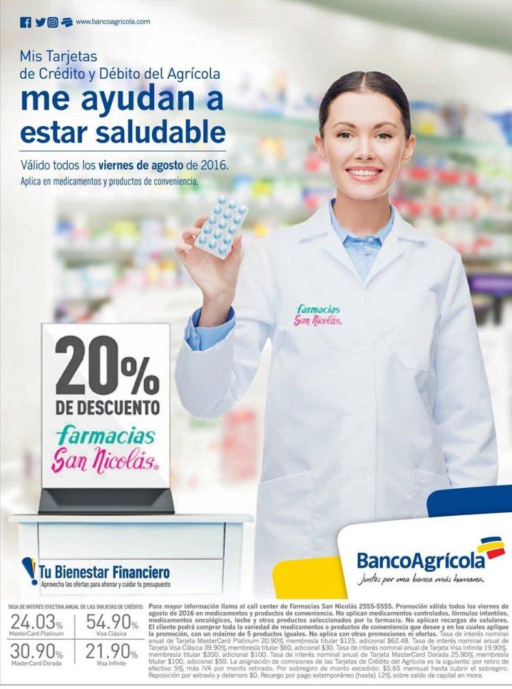 VIERNES 20 off en farmacias san nicolas con banco agricola