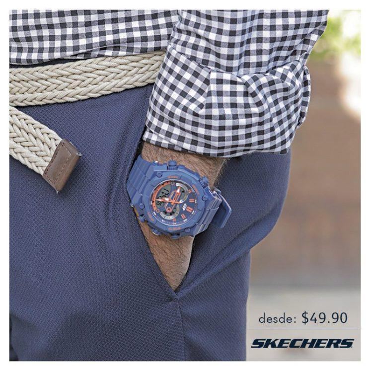 BLUE trend by skechers wearing