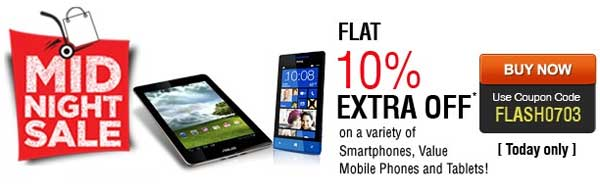 Indiatimes Midnight Sale   10% Off on Tablets & Mobile Phones   FLASH0703 mobile and accessories