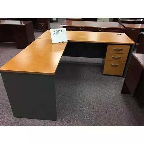 L-Shaped Desk with 3 Drawers