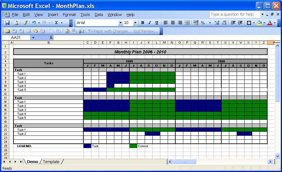 excel daily calendar template