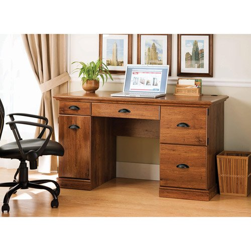 Oak Wood Computer Desk with Chair Cut Out  Great Furniture for any