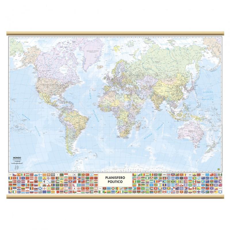 murale mondo con bandierine Belletti Carta Geografica - cartina mondo