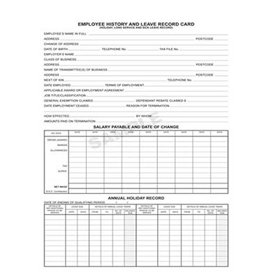 Zions Ehr2 Record Employee History And Leave Card Pack 20 Office