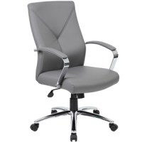 Modern Executive Grey Leather Conference Office Chair ...