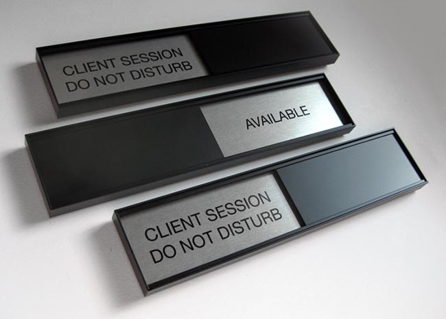 Sliding Office Door Signs - Black GSA Slider Meeting In Session Door