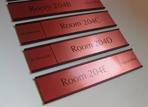 Premium Office Signs in Warm Brown Colors Sliding Office Signs